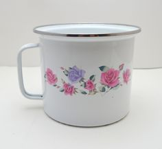 Vintage GMI Enamelware Canister or Utensil Storage, Purple and Pink Roses, Chippy Paint, Shabby Chic by UpswingVintage on Etsy