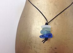 Rare blue Natural English sea glass pendant by QuirkyGirlWorkshop