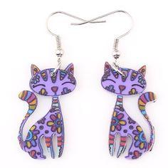 Bonsny Drop Cat Earrings Dangle Long Acrylic Pattern Earring Fashion Jewelry For Women 2016 New Arrive Accessories Types Of Earrings, Big Earrings, Drop Earrings, Pendant Earrings, Fashion Earrings, Fashion Jewelry, Women Jewelry, Cat Themed Gifts, Purple Cat