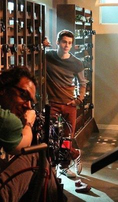 Dylan O'Brien on the set of Teen Wolf!