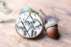 Wood Slice Necklace Mountain Necklace Wood by bytherockandweed, $23.00