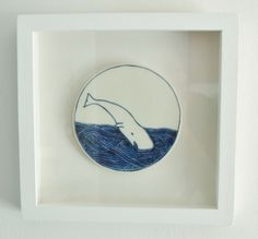 Whale. Framed porcelain from Farah Hernandez. Hand painted using oxides. www.facebook.com/FHporcelain Pottery Art, Whale, Household, Porcelain, Clay, Hand Painted, Pure Products, Facebook, Drawings