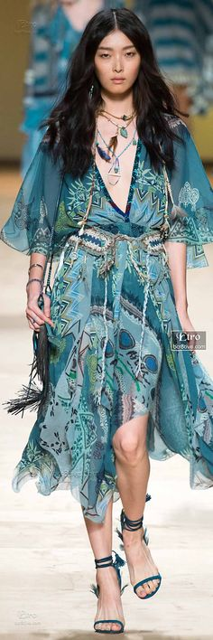 Turquoise Bohemian Handkerchief Dress