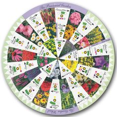 Perennial Wheel: Turn the dials and visualize perennial plant combinations for your garden! Plants are organized on 3 wheels by height with symbols that let you know the bloom time, the sun needs and the colors of that plant.