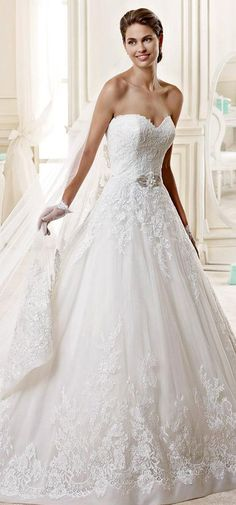 Stunning Tulle & Organza Sweetheart Neckline A-line Wedding Dress With Beaded Lace Appliques