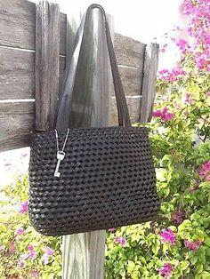 Vtg Fossil Black Leather Weaved Shoulder Bag W/Key L@@K!