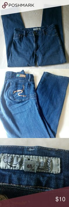 "Revmag Mid Rise Jeans In super shape, these mid rise jeans are comfy! Measurements are approximately 16.5"" waist and 29.5"" length. Front rise 9.5"". I see 8"" wide leg opening. These are a medium wash blue, see pic 7. A couple of denim distress, pics 5,6. These are sized 48/28. Please see measurements for fit. In my opinion, these are a woman's 10. Revmag Jeans Straight Leg"