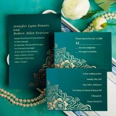 wedding invitations in emerals and gold