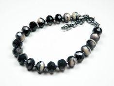 Black and Gray Beaded Bracelet Czech Glass by DebsTurquoiseZebra