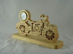 #Vintage Style #Motorcycle Mini Desk #Clock Handmade From Ash Wood By @KevsKrafts on #etsy