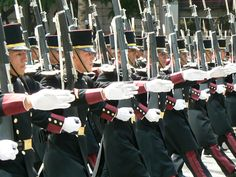 Cadets of the Heroic Military College of Mexico (Heroico Colegio Militar) marching through the Zócalo in Mexico City at the 2009 Mexican Independence Day Parade.