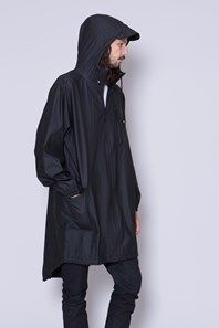 Parka Coat by Danish brand Rains is a unisex black, light, parka style rain jacket with a hood. The hood is a adjustable and with a cap, waterproof taped zipper in front, a chest pocket, large buttoned front pockets and elastic cuffs for adjustment. This is a unisex rain coat, and is a practical garment for the spring, summer and fall season.