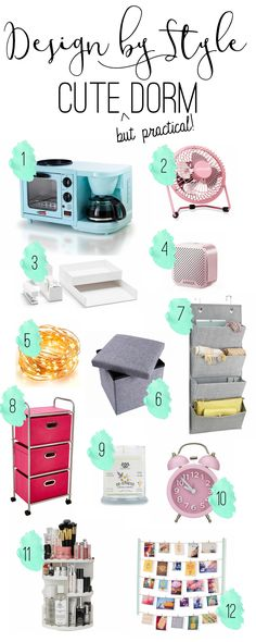 It's not easy to find dorm items that are cute but practical. So, here's a list of things that are just that. These would make perfect gifts for a family membe