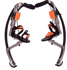 """Jumping Stilts. How cool would it be to jump 10 feet high and """"run"""" at up to 20 mph like a superhero? That's exactly what the Air-Trekker lets you do. #tech #gadget"""