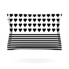 Heart Stripes Black and White by Project M Featherweight Pillow Sham