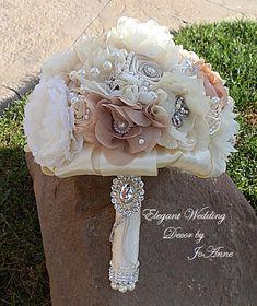 Fabric Flower Wedding Bouquet Rustic by Elegantweddingdecor