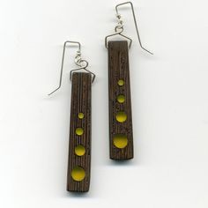 4dots firefly yellow resin and wenge wood earrings