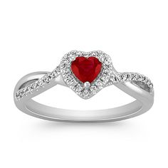 She'll love this heart-shaped ruby ring for an anniversary gift!
