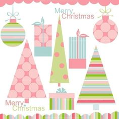 CLIP ART - Modern Christmas Pink Elements for commercial and personal use.