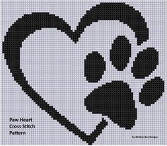 (10) Name: 'Embroidery : Paw Heart Cross Stitch Pattern