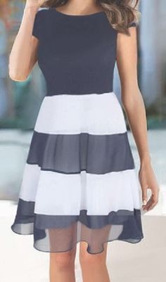 Elegant Black and White Jewel Neck Sleeveless Striped Splicing Dress For Women #Black #White #Stripe #Dress
