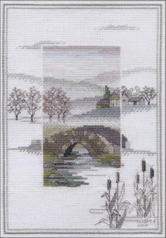 """""""Misty Mornings: Winter Bridge"""" counted cross-stitch kit by Rose Swalwell (designer), Derwentwater Designs, and Bothy Threads ( Hand Embroidery Kits, Embroidery Patterns, Cross Stitch Designs, Cross Stitch Patterns, Cross Stitching, Cross Stitch Embroidery, Bothy Threads, Cross Stitch Landscape, Cross Stitch Boards"""