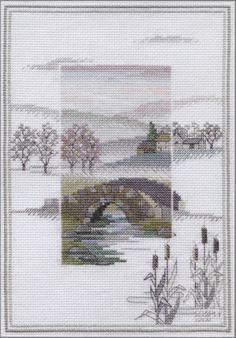 misty mornings cross stitch | Winter Bridge - Misty Mornings Cross Stitch Kit from Derwentwater ...
