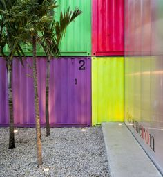 Neon shipping containers in the Sao Paulo store Decameron. By Studio Container Van, Sea Container Homes, Sea Containers, Cargo Container, Container House Design, Container Houses, Storage Containers, Container Architecture, Container Buildings
