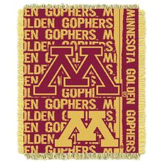 Minnesota Golden Gophers NCAA Triple Woven Jacquard Throw (Double Play Series) (48x60)
