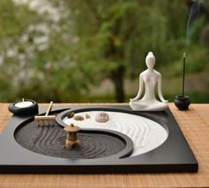 Buddhism Wooden Zen Garden when set up in the surrounding are believed to stimulate meditation. These zen gardens were designed to stimulate meditation.