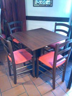 """Sedie e tavoli Pub Ristoranti Pizzerie MAIERON SNC www.mobilificiomaieron.it - https://www.facebook.com/pages/Arredamenti-Pub-Pizzerie-Ristoranti-Maieron/263620513820232 - 0433775330. Sedie e tavoli ristorante. Arredo """"Trattoria Speranza """" a Trieste. Tavoli con base centrale in ghisa e piano in melaminico noce, e sedia venezia imbottita color Noce cod 3011/I #arredoRistorantemaieron #arredoristorante #tavoliesedie #arredoristorante, #arredopub #sedievenezia"""