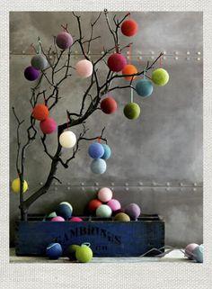 wool ball ornaments