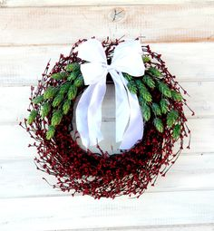 CHRISTMAS HOLIDAY Wreath-Red Berry Wreath-Holiday Door Wreath-Christmas Door Wreath-Scented Candy Cane-Custom-Choose your Scent and Ribbon