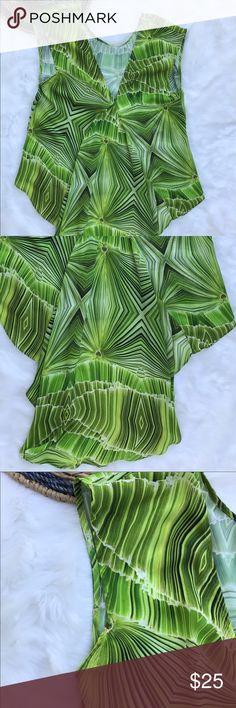 "Eva franco tropical green Sleeveless Blouse size 8 Eva Franco Womens Tropical Green Sleeveless Blouse Waterfall Front Size 8                                   Measurements: Bust:21"" Length:28"" Eva Franco Tops Blouses"