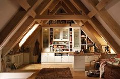 Great Idea to utilize the Attic space with a high pitched roof.  Home office, craft space, man cave, or relaxing alone space opportunities