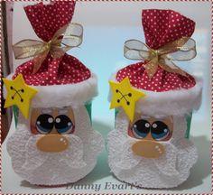 www.facebook.com/pages/Chiquinha-Artesanato/345067182280566  Lata de leite decorada em eva de papai noel... Podemos usar para as embalagens dos Panetones.  Fonte: http://daiana-evart.blogspot.com.br/2012/12/lata-de-leite-ninho-decorada-em-eva-de.html