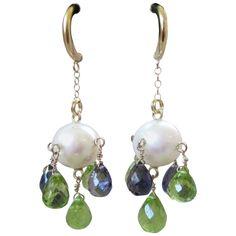 9mm Pearl with Peridot and Iolite Briolette Earrings | See more rare vintage Dangle Earrings at https://www.1stdibs.com/jewelry/earrings/dangle-earrings
