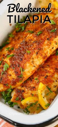Blackened Tilapia starts with an easy homemade blackened seasoning mix. This bla… Blackened Tilapia starts with an easy homemade blackened seasoning mix. This blackened fish recipe is on the table in under 10 minutes making it the perfect weeknight meal! Blackened Fish Recipe, Blackened Tilapia, Tilapia Fish Recipes, Salmon Recipes, Fish Fillet Recipes, Talapia Recipes Healthy, Keto Tilapia Recipe, Tilapia Fillet Recipe, Healthy Recipes