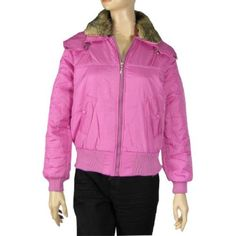 Allegra K Lady Detachable Faux Fur Collar Quilted Coat Fuchsia S Allegra K. $18.64