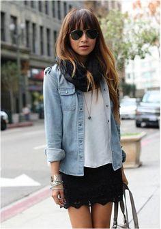 Look do Dia = Camisa Jeans + Shorts ou Saia Preta