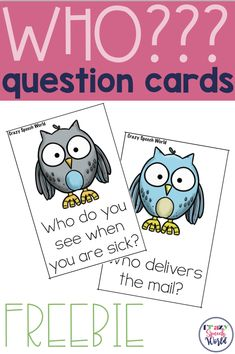 Free WHO question cards for speech therapy
