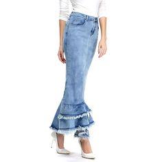 Zicac Ladies' Slim Fit Multi-layer Ruffle Elegant Fishtail Denim Skirt at Amazon Women's Clothing store: