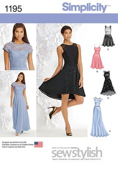 Misses' Sew Stylish dress can be made floor length with bodice and skirt overlays, knee length with straps, and sleeveless about the knee or high low with contrast yoke and skirt overlay. #1195