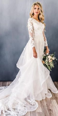 30 Cute Modest Wedding Dresses To Inspire ❤ modest wedding dresses a line with long sleeves floral lace elizabethcooperdesign #weddingforward #wedding #bride #modestweddingdresses #weddingdresses