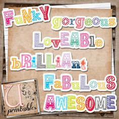 Free Print and Cut Funky Word Art from U printables by RebeccaB