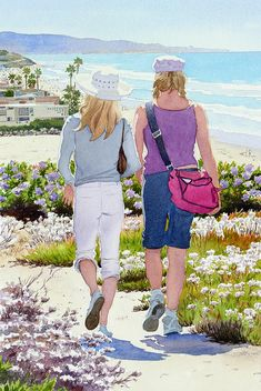 Two Girls At Dog Beach Del Mar by Mary Helmreich ~ watercolor coastal California