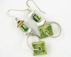 earrings unique modern organic green ceramic by PiaBarileJewelry, $28.00