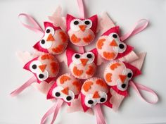 Owl Christmas Ornaments 8 Mini owls felt party by Mariapalito