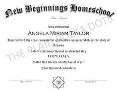 Homeschool High School Diploma by ThePlaidPolkaDots on Etsy Homeschool Diploma, Homeschool High School, High School Diploma, Etsy