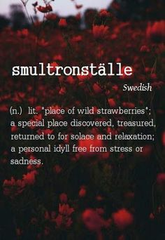 "Smultronställe (n) Swedish lit. ""place of wild strawberries""; a special place discovered, treasured, returned to for solace and relaxation; a personal idyll free from stress or sadness. The Words, Weird Words, More Than Words, Cool Words, Unusual Words, Unique Words, Pretty Words, Beautiful Words, Beautiful Life"